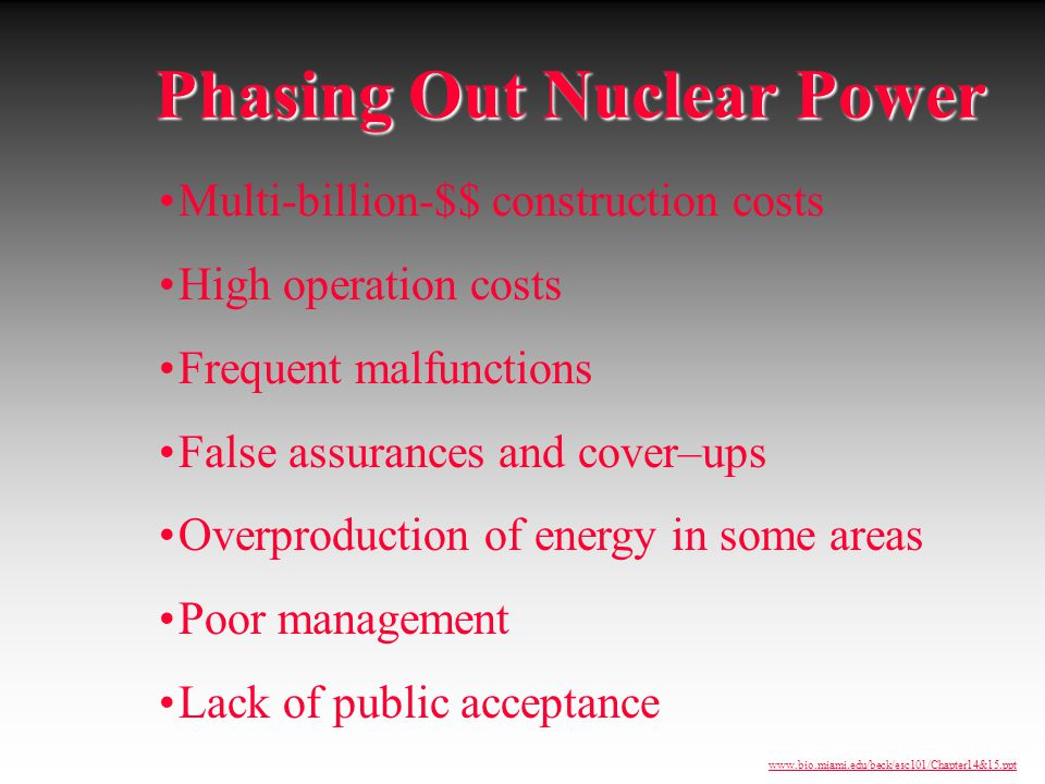 Phasing Out Nuclear Power