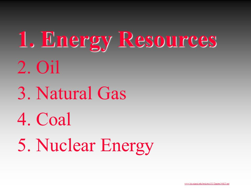 1. Energy Resources 2. Oil 3. Natural Gas 4. Coal 5. Nuclear Energy