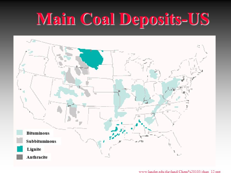 Main Coal Deposits-US Bituminous Subbituminous Lignite Anthracite