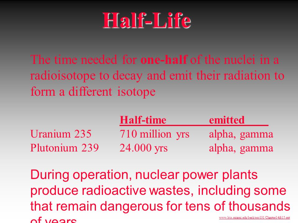 Half-Life The time needed for one-half of the nuclei in a radioisotope to decay and emit their radiation to form a different isotope.