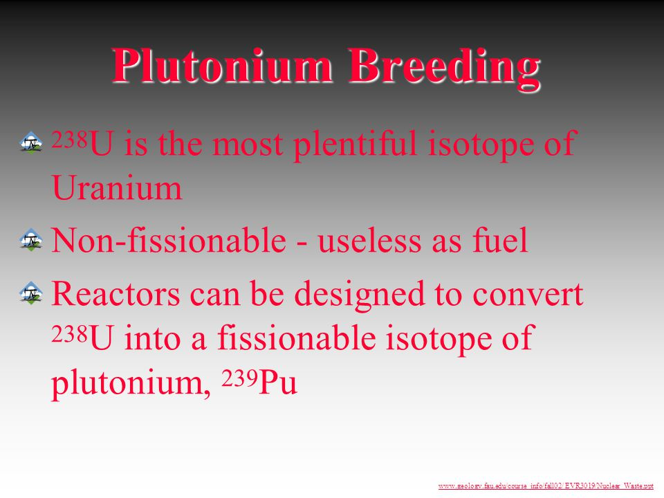 Plutonium Breeding 238U is the most plentiful isotope of Uranium