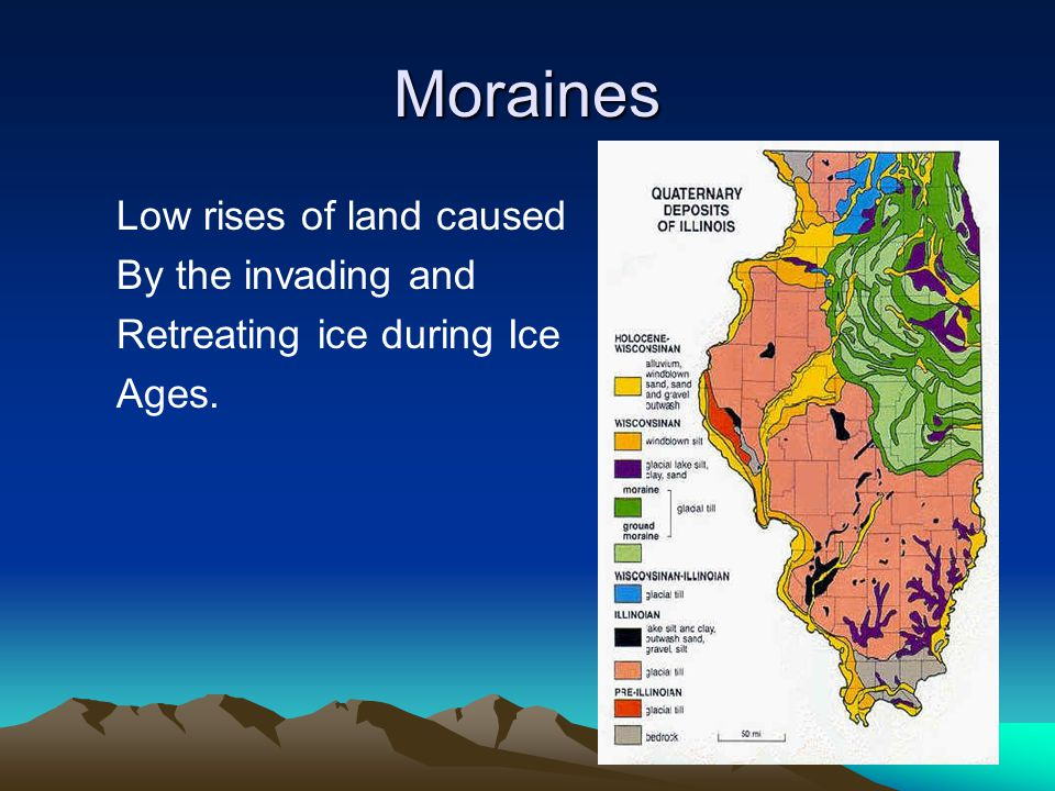 Moraines Low rises of land caused By the invading and