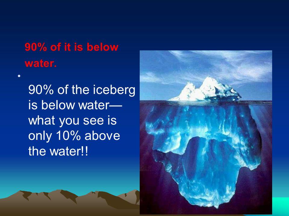 90% of it is below water.