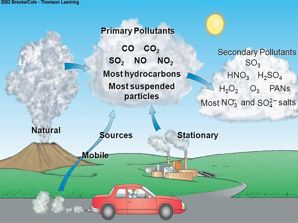 Primary Pollutants Secondary Pollutants. Sources. Natural. Stationary. CO. CO2. SO2. NO. NO2.