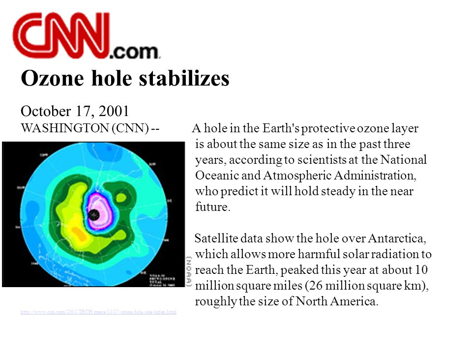 Ozone hole stabilizes October 17, 2001