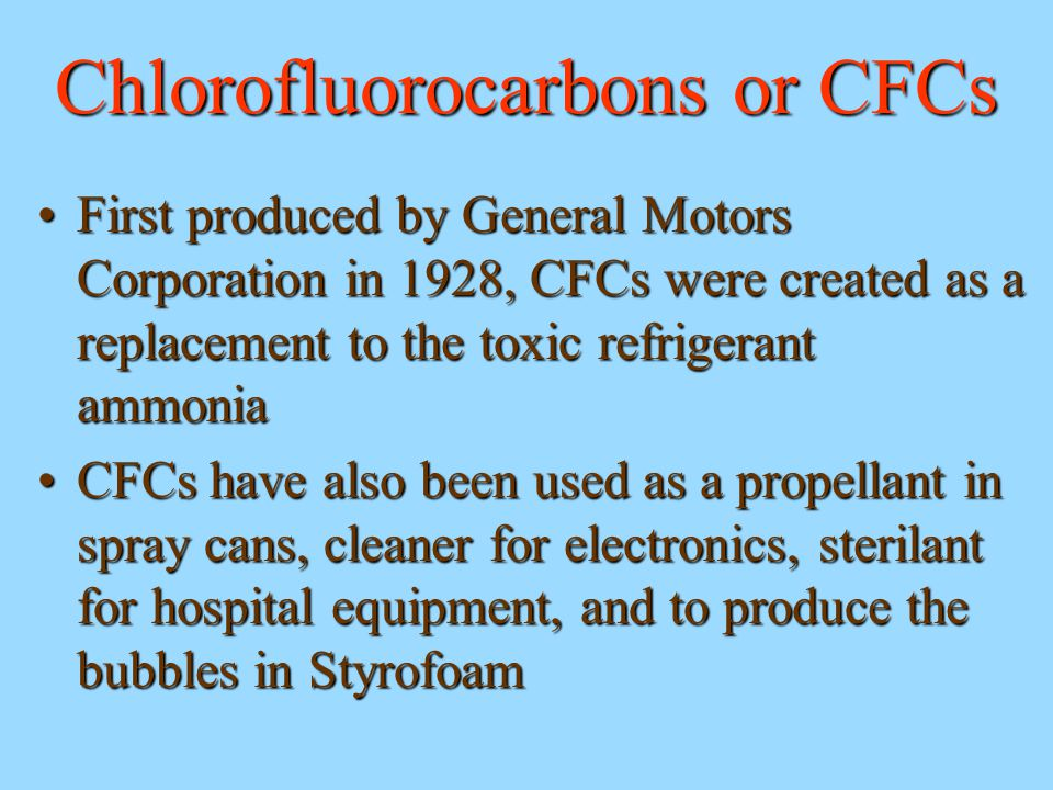 Chlorofluorocarbons or CFCs