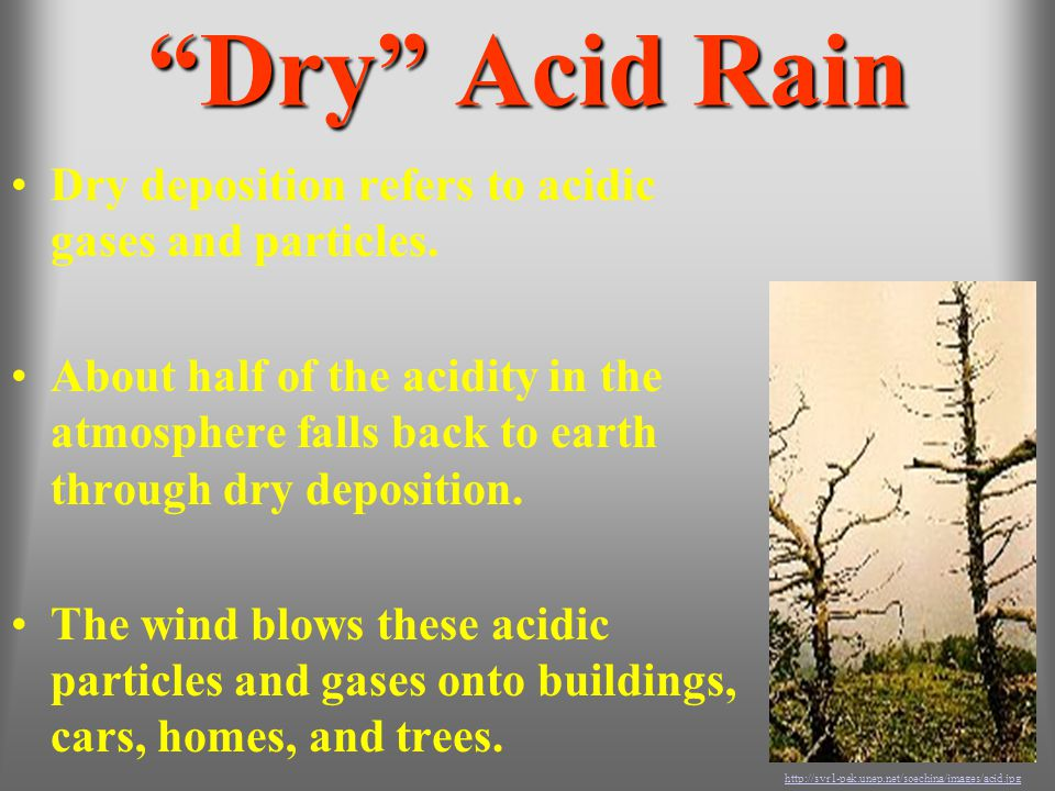 Dry Acid Rain Dry deposition refers to acidic gases and particles.