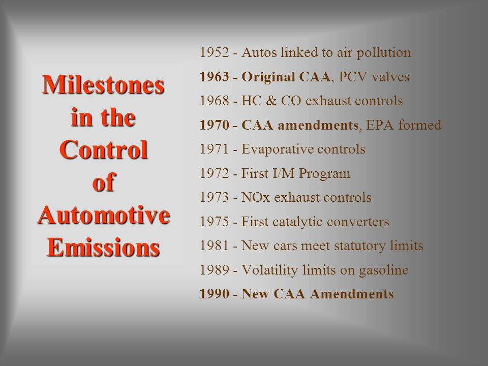 Milestones in the Control of Automotive Emissions