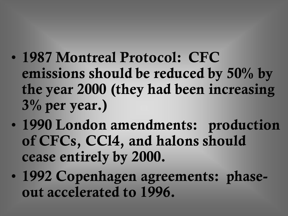1987 Montreal Protocol: CFC emissions should be reduced by 50% by the year 2000 (they had been increasing 3% per year.)