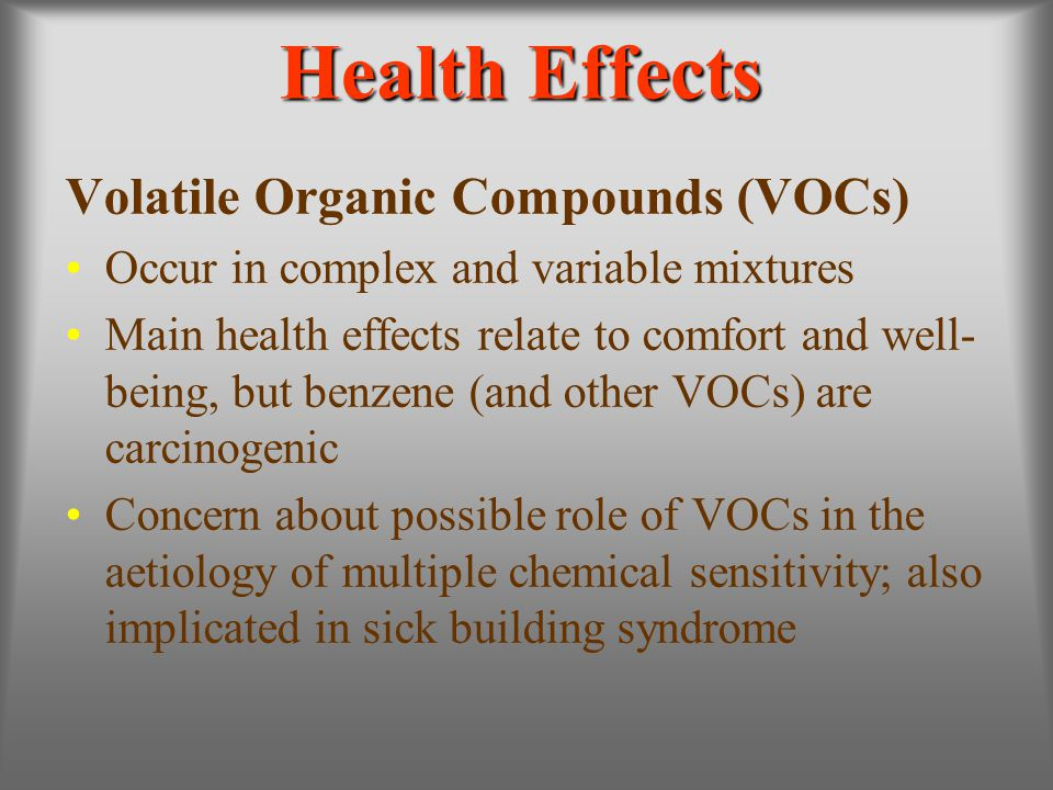 Health Effects Volatile Organic Compounds (VOCs)