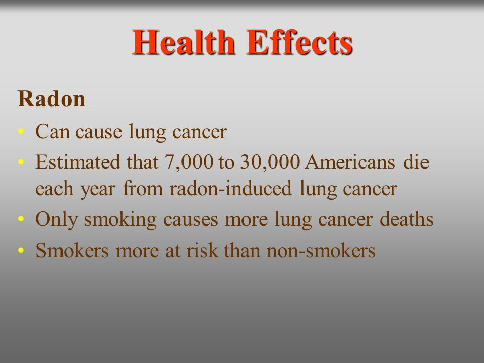 Health Effects Radon Can cause lung cancer
