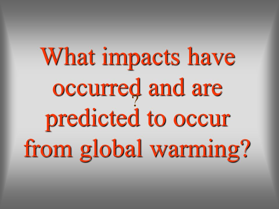 What impacts have occurred and are predicted to occur from global warming