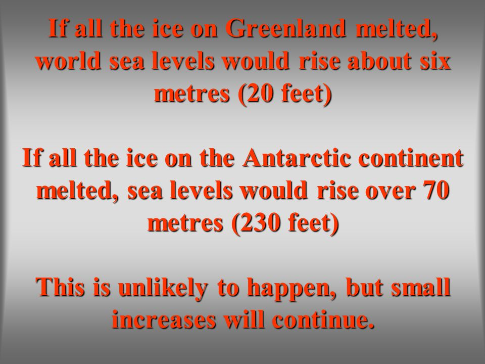 If all the ice on Greenland melted, world sea levels would rise about six metres (20 feet) If all the ice on the Antarctic continent melted, sea levels would rise over 70 metres (230 feet) This is unlikely to happen, but small increases will continue.