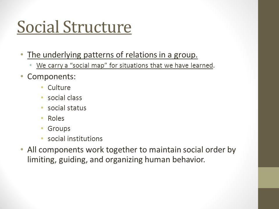 Social Structure The underlying patterns of relations in a group.