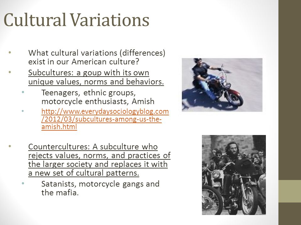Cultural Variations What cultural variations (differences) exist in our American culture