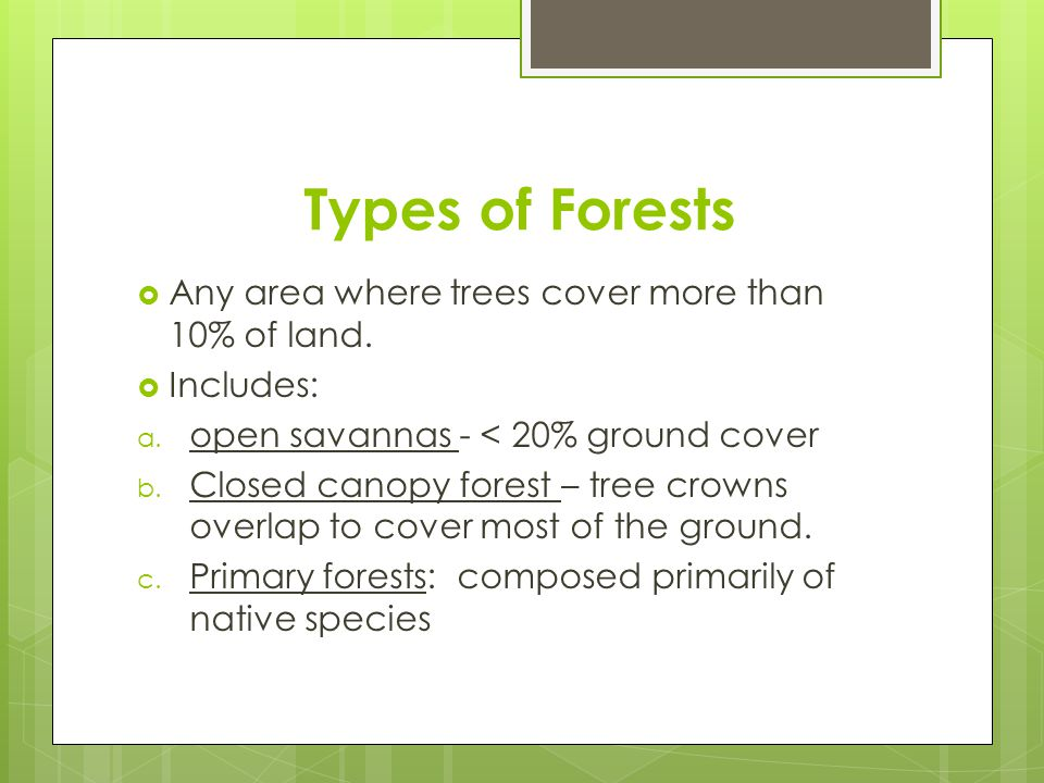 Types of Forests Any area where trees cover more than 10% of land.