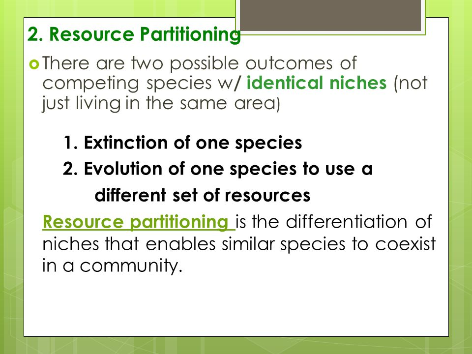 2. Resource Partitioning