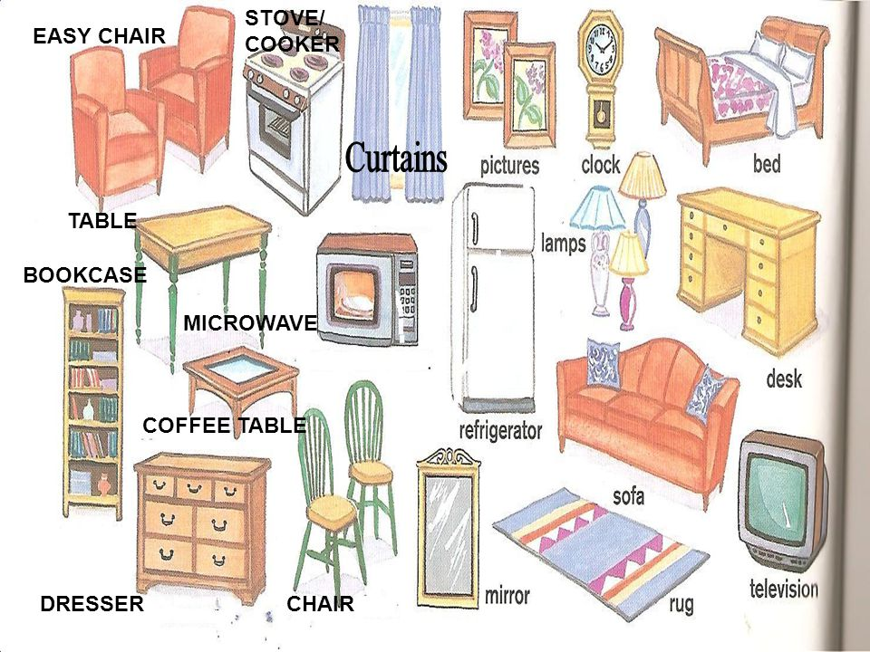 Curtains STOVE/ COOKER EASY CHAIR TABLE BOOKCASE MICROWAVE