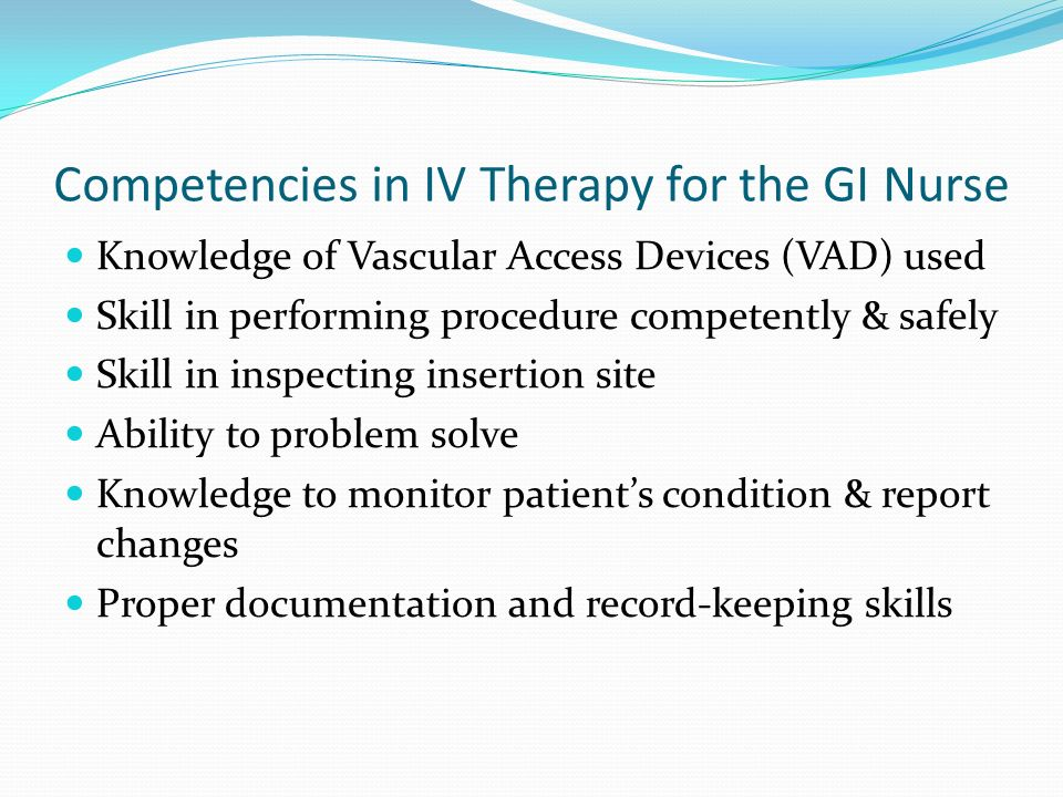Competencies in IV Therapy for the GI Nurse