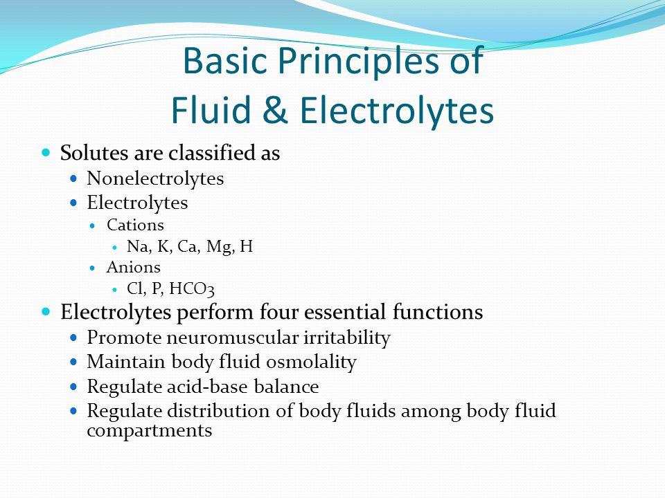 Basic Principles of Fluid & Electrolytes