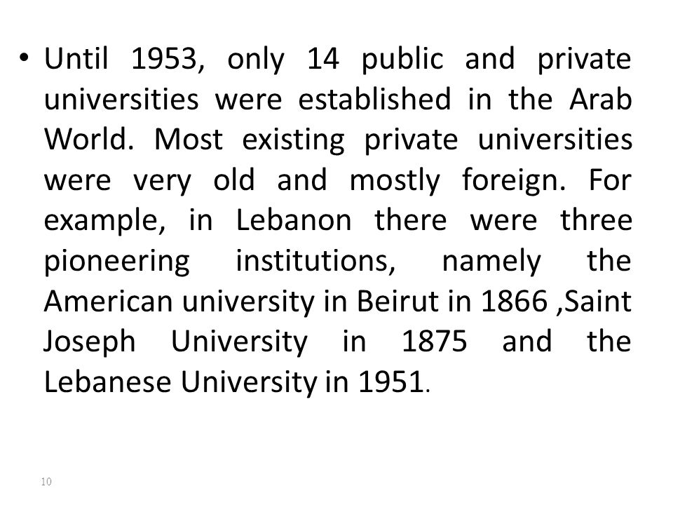 Until 1953, only 14 public and private universities were established in the Arab World.