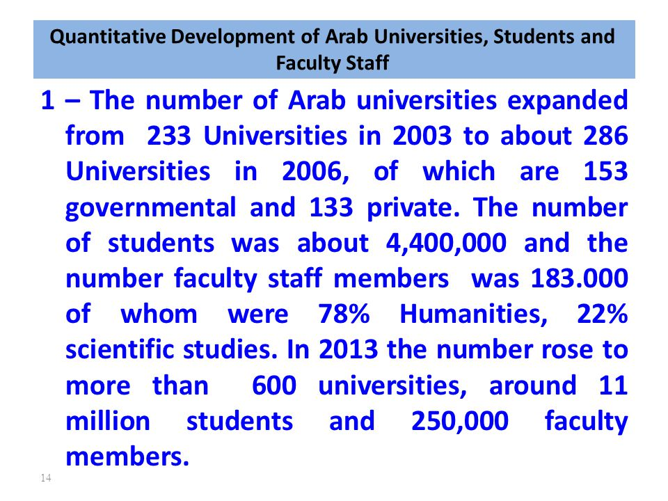 Quantitative Development of Arab Universities, Students and Faculty Staff