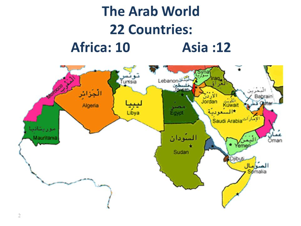 The Arab World 22 Countries: Asia :12 Africa: 10