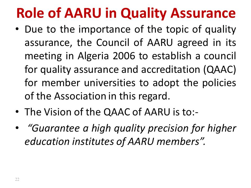 Role of AARU in Quality Assurance