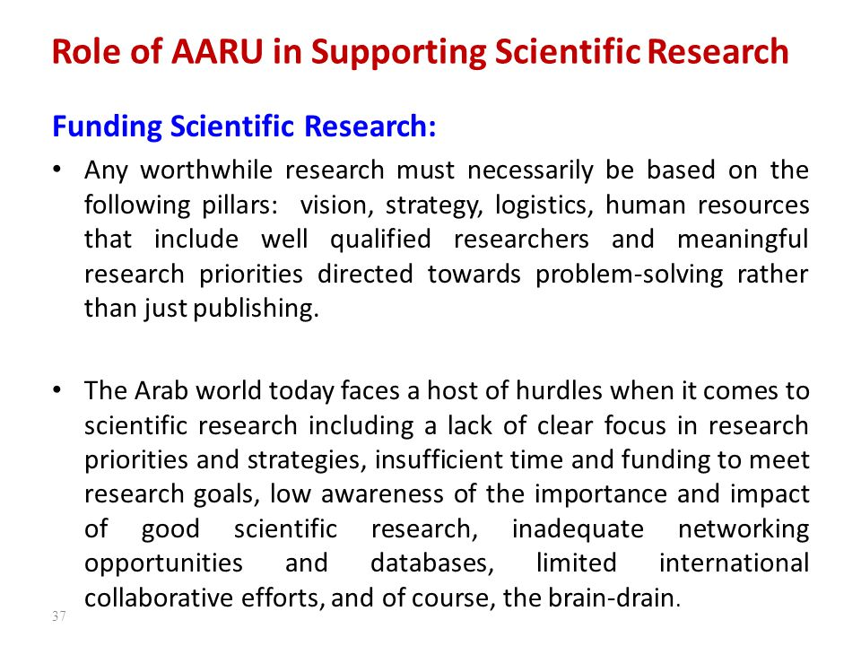 Role of AARU in Supporting Scientific Research