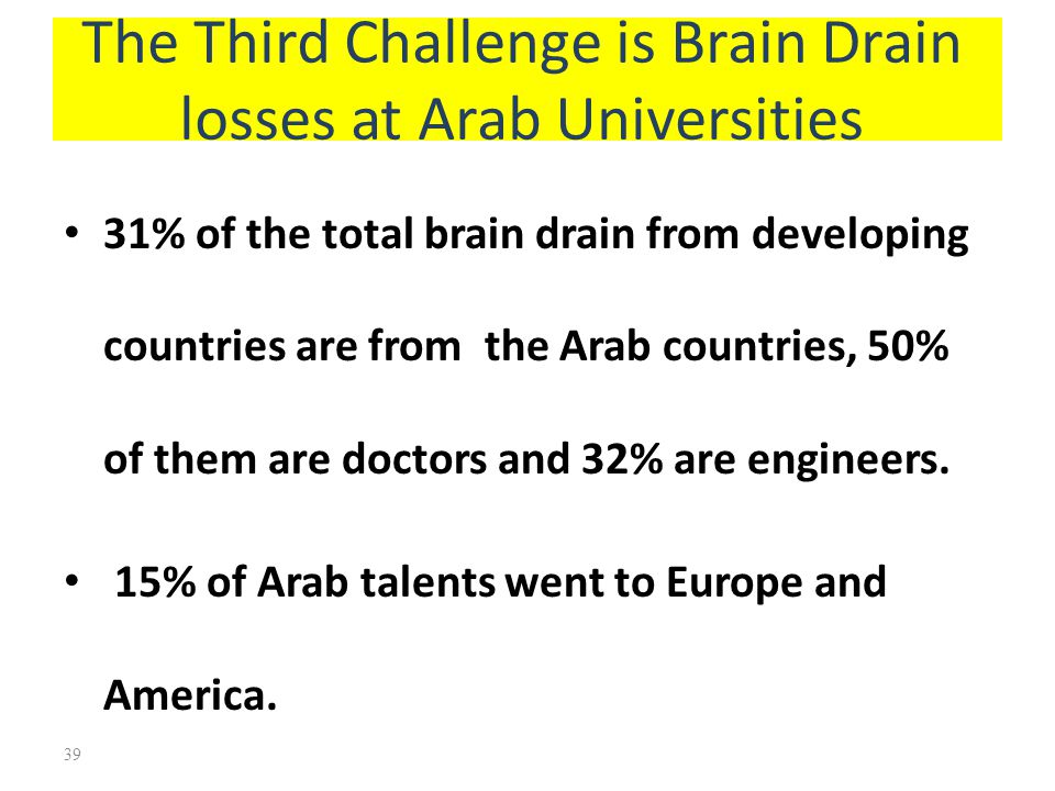 The Third Challenge is Brain Drain losses at Arab Universities
