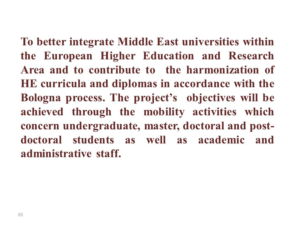 To better integrate Middle East universities within the European Higher Education and Research Area and to contribute to the harmonization of HE curricula and diplomas in accordance with the Bologna process.
