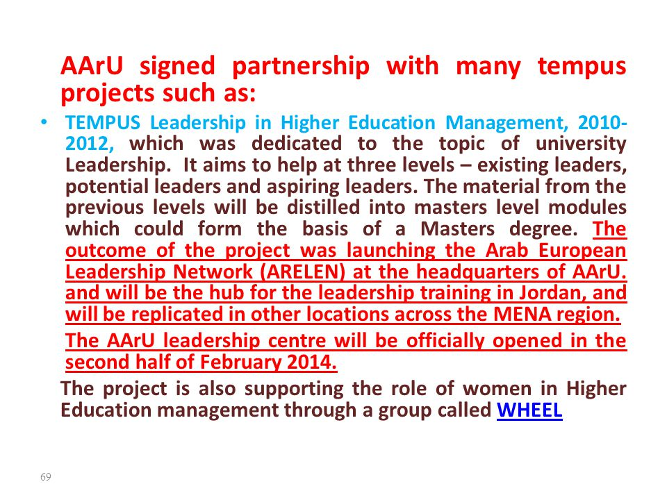 AArU signed partnership with many tempus projects such as: