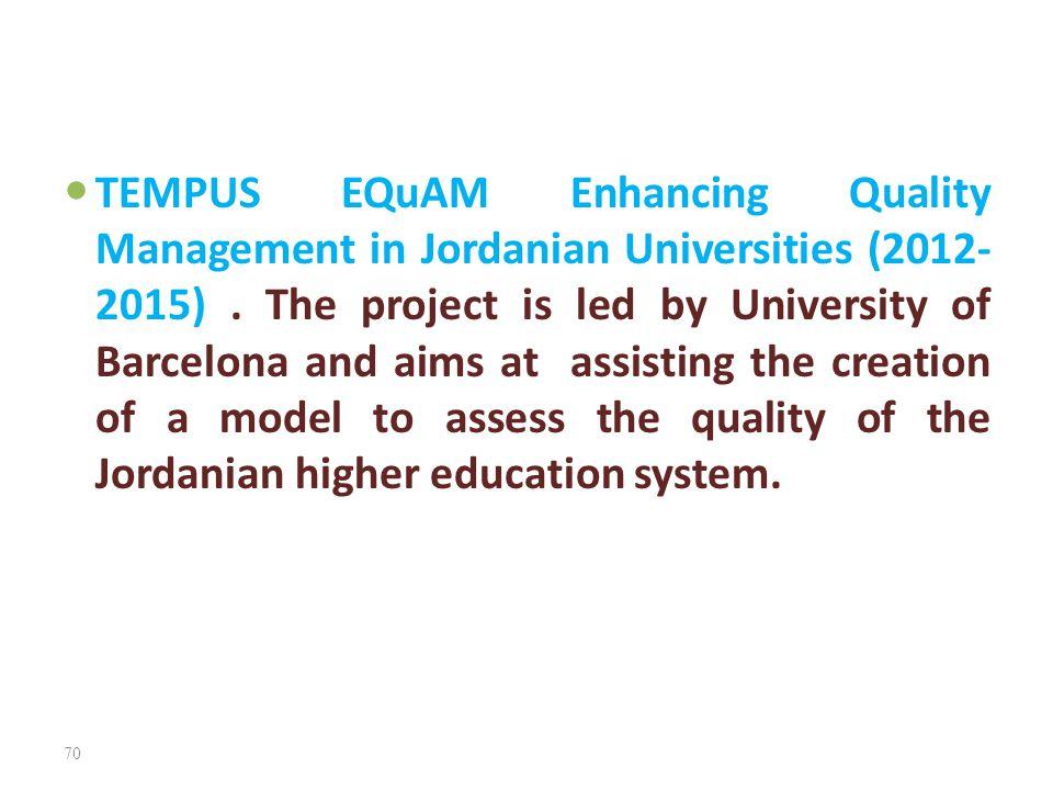 TEMPUS EQuAM Enhancing Quality Management in Jordanian Universities (2012-2015) .