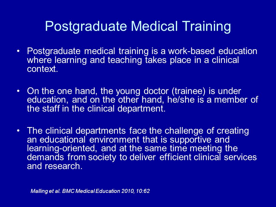 Postgraduate Medical Training