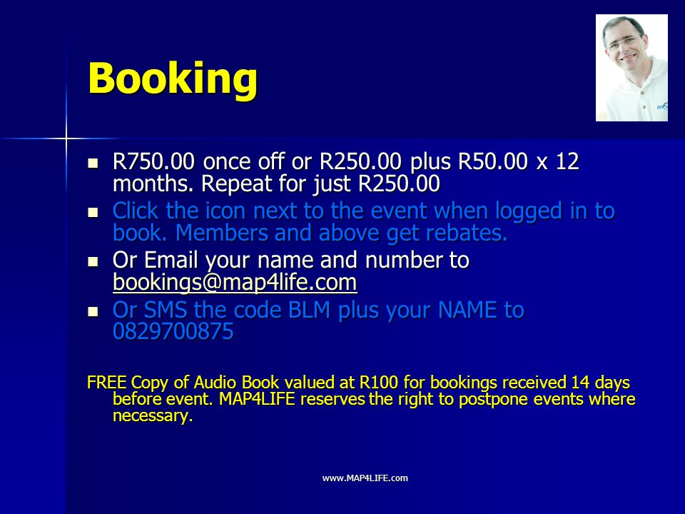 Booking R750.00 once off or R250.00 plus R50.00 x 12 months. Repeat for just R250.00.