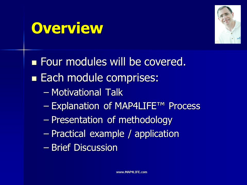 Overview Four modules will be covered. Each module comprises: