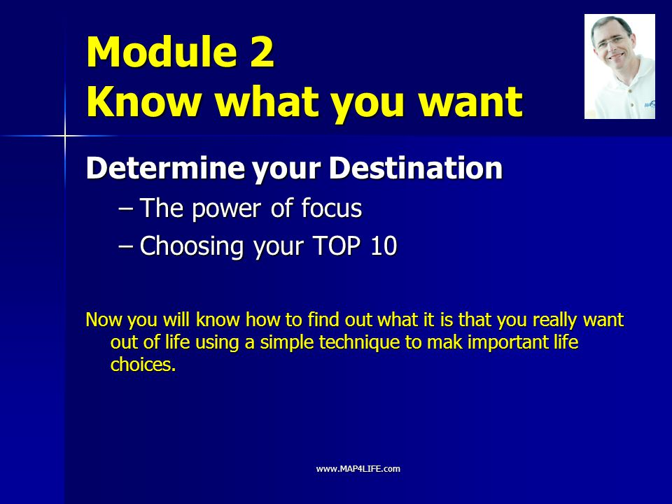 Module 2 Know what you want