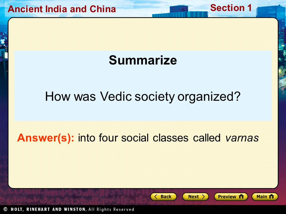 How was Vedic society organized