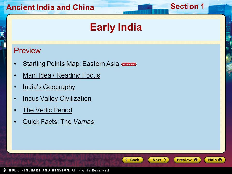 Early India Preview Starting Points Map: Eastern Asia
