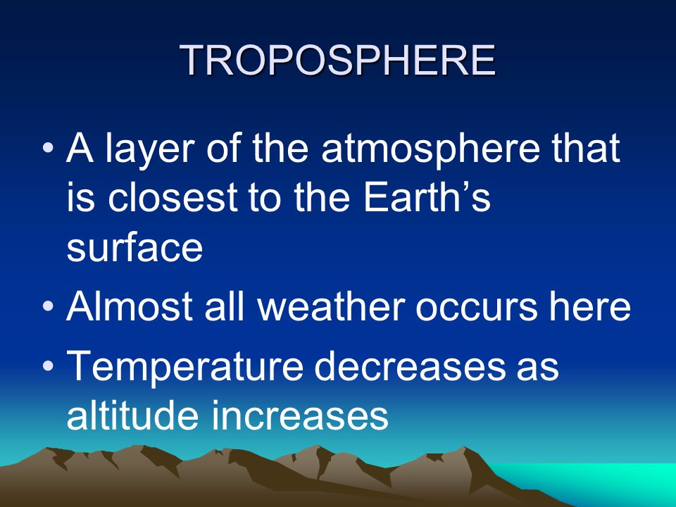 TROPOSPHERE A layer of the atmosphere that is closest to the Earth's surface. Almost all weather occurs here.