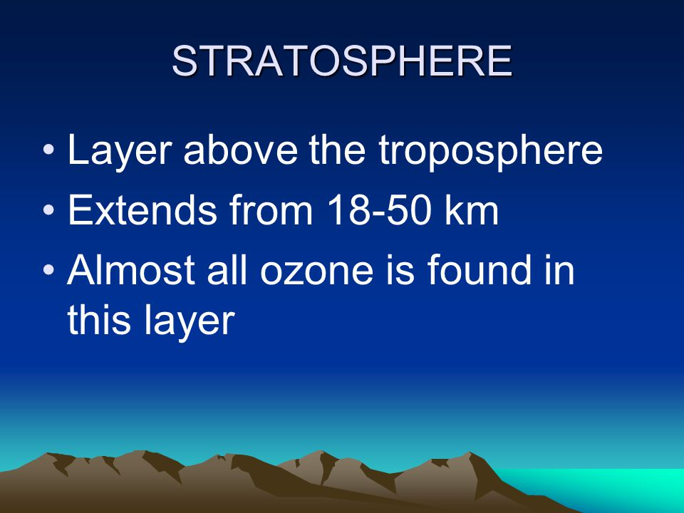 STRATOSPHERE Layer above the troposphere. Extends from 18-50 km.