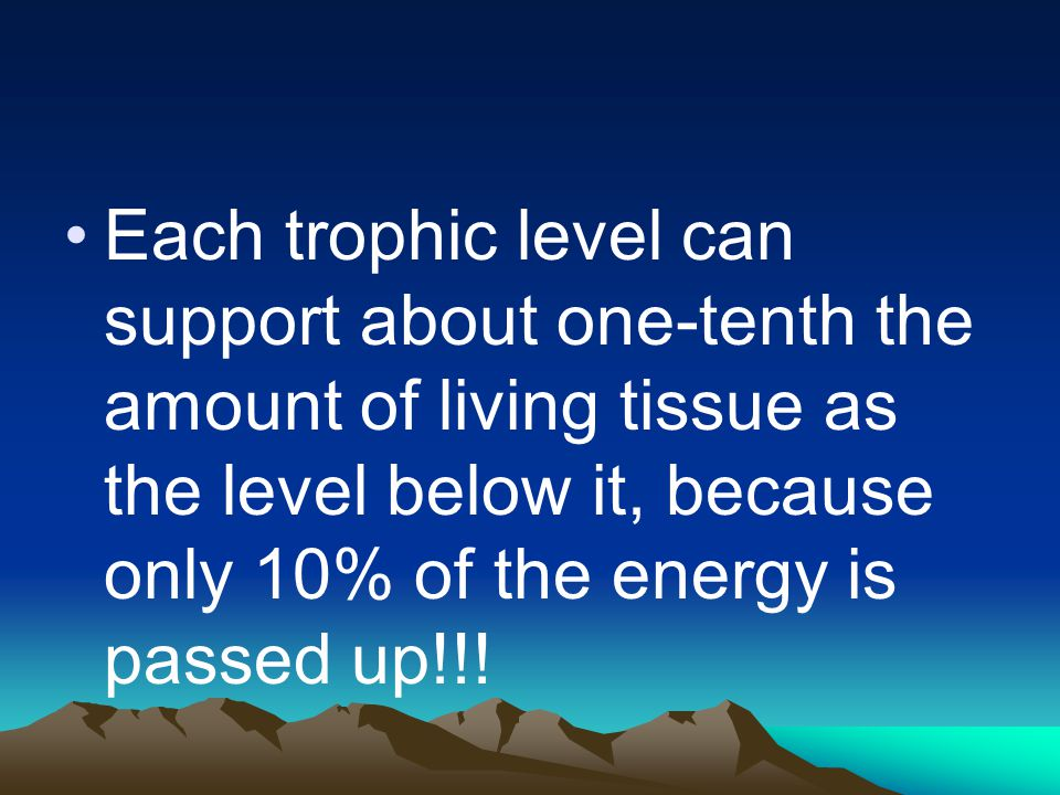 Each trophic level can support about one-tenth the amount of living tissue as the level below it, because only 10% of the energy is passed up!!!