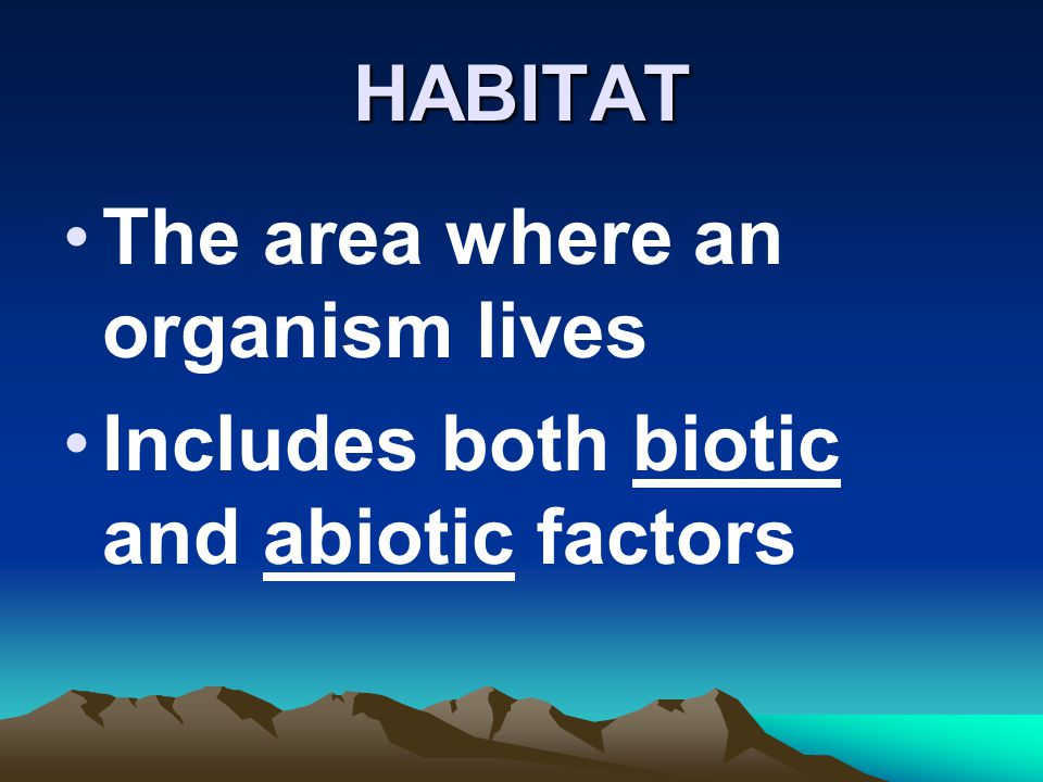 HABITAT The area where an organism lives Includes both biotic and abiotic factors