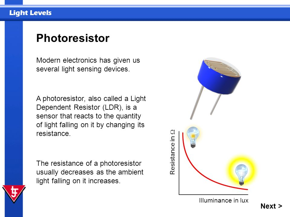 Photoresistor Modern electronics has given us several light sensing devices.