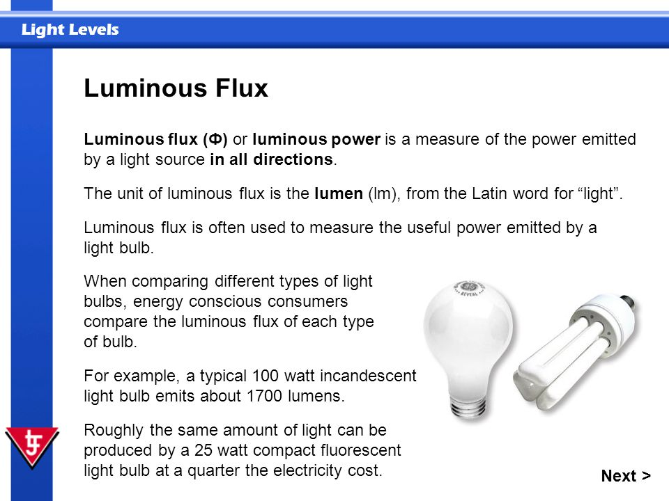 Luminous Flux Luminous flux (Ф) or luminous power is a measure of the power emitted by a light source in all directions.