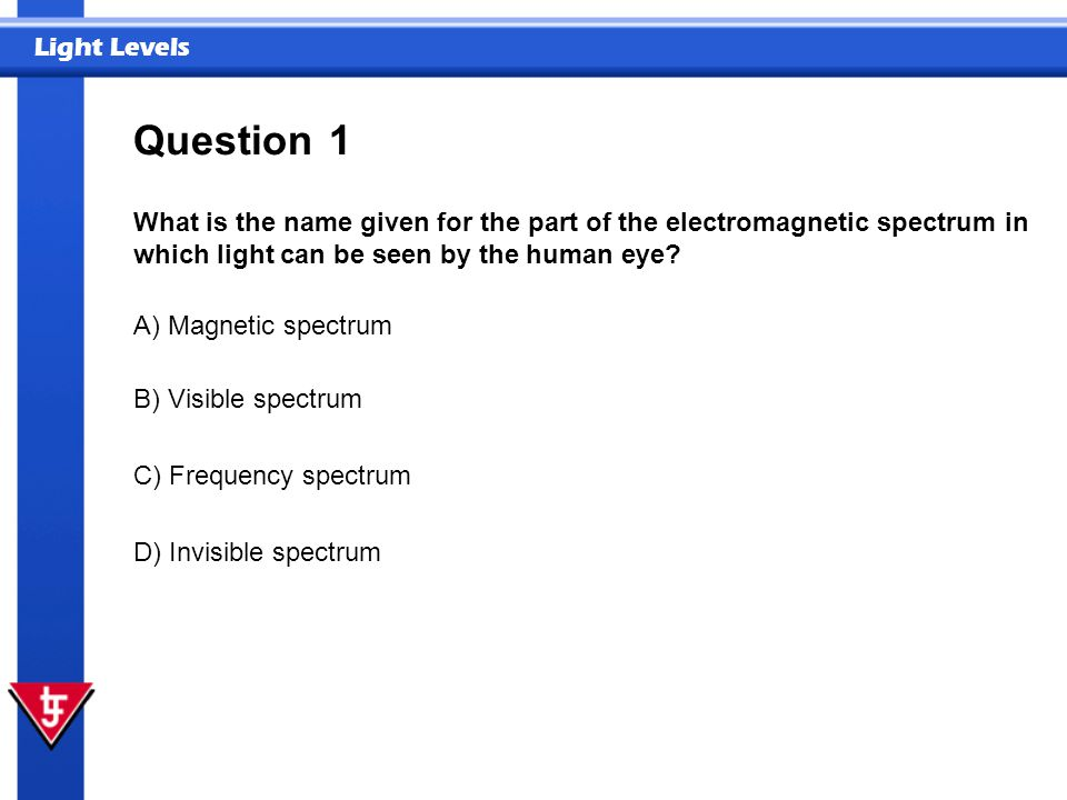 Question 1. What is the name given for the part of the electromagnetic spectrum in which light can be seen by the human eye