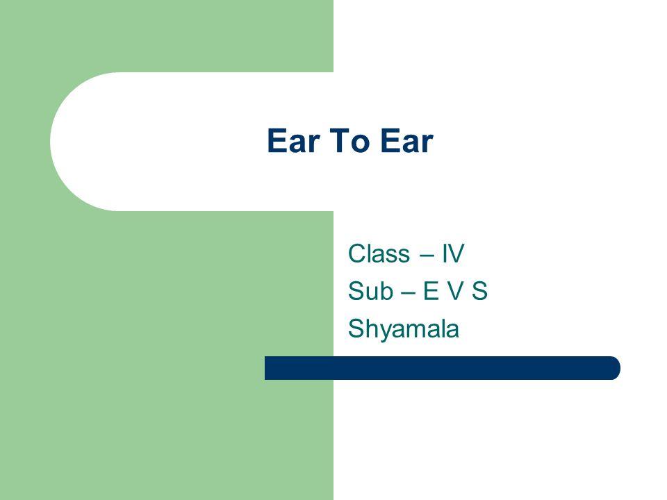 Class – IV Sub – E V S Shyamala