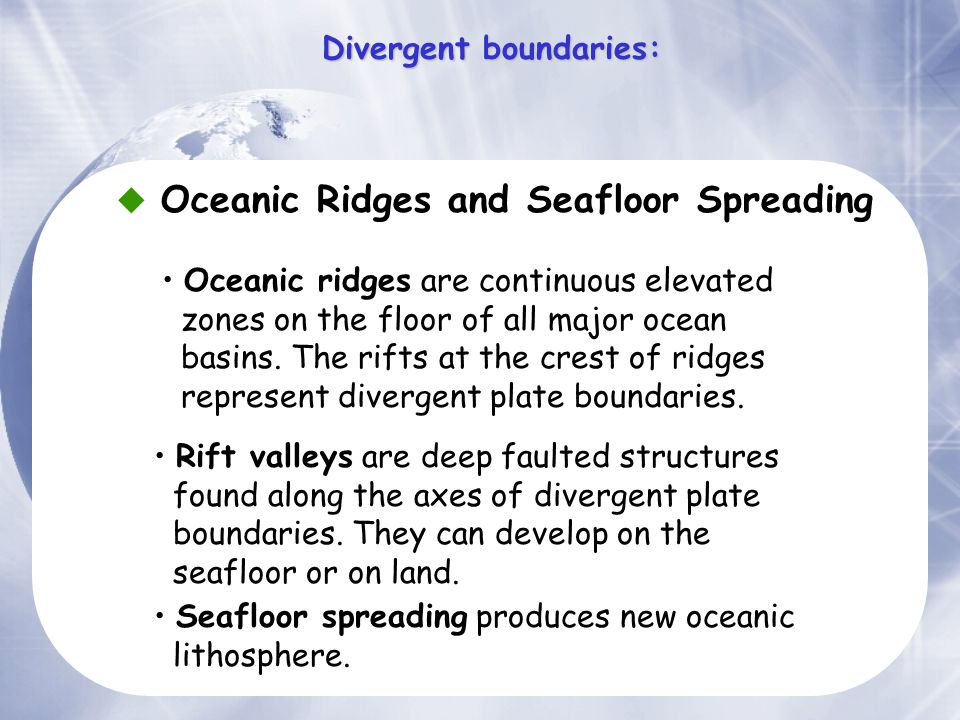  Oceanic Ridges and Seafloor Spreading