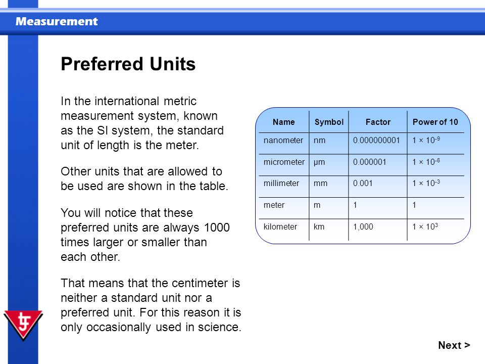 Preferred Units In the international metric measurement system, known as the SI system, the standard unit of length is the meter.