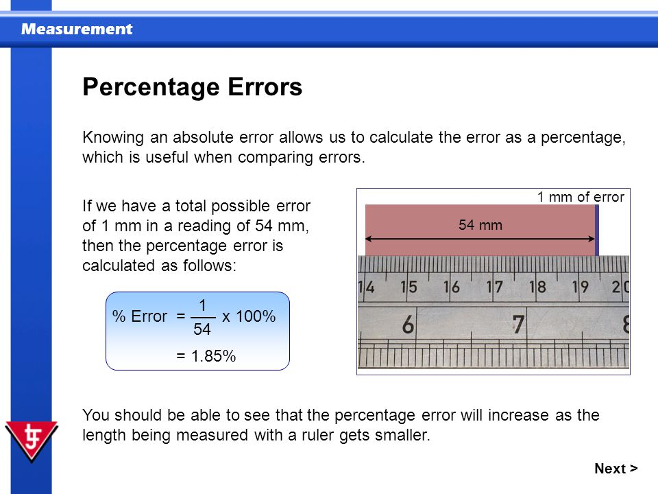 Percentage Errors Knowing an absolute error allows us to calculate the error as a percentage, which is useful when comparing errors.